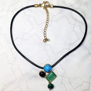 Chicos Blue & Green Stone Necklace
